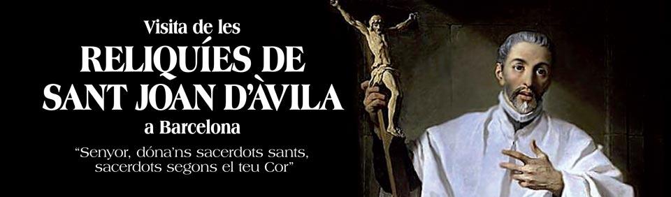 cartel de la visita de las reliquias de San Juan de Ávila a Barcelona