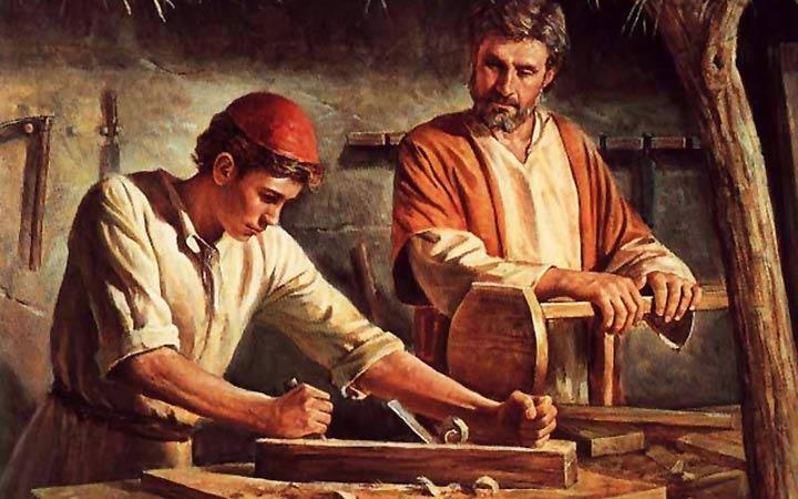 S.José y Nuestro Señor Jesucristo en el taller de carpintería
