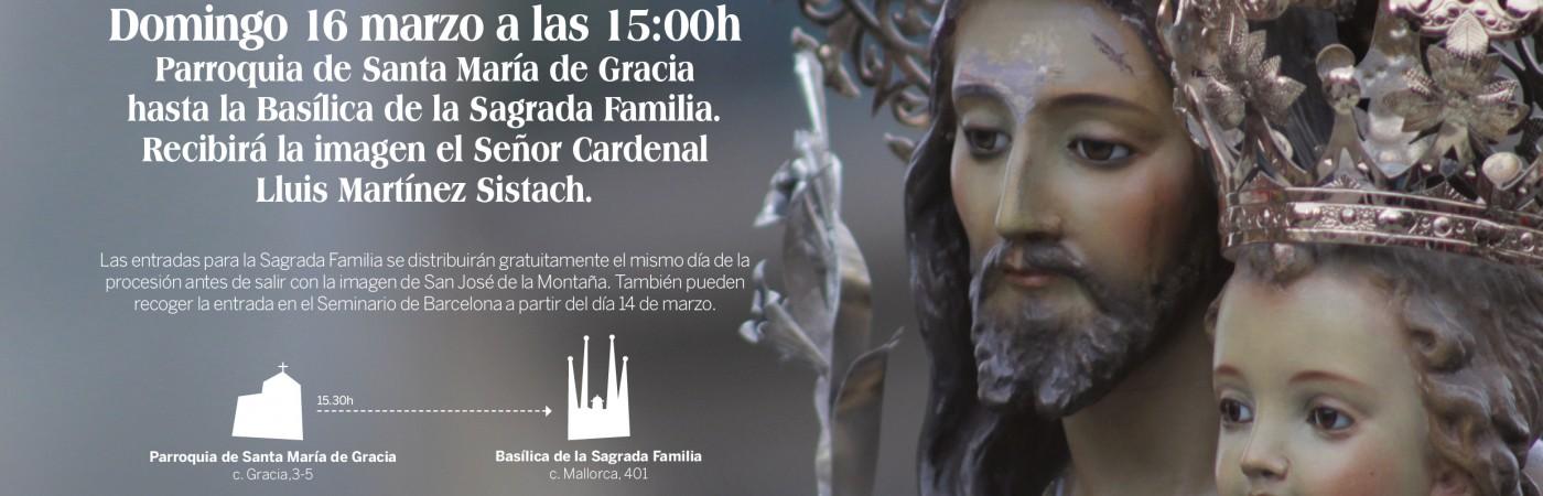 Cartel de la procesión de San José de la Montaña a la Sagrada Familia