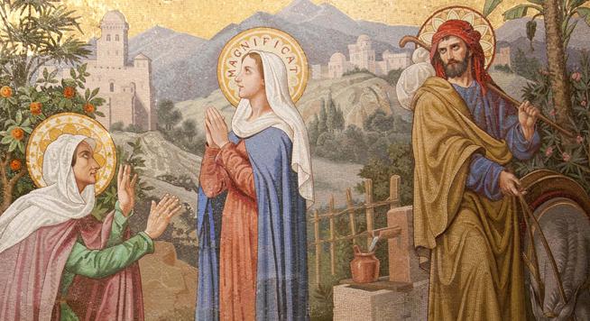 mosaico de la visitación de la Virgen María