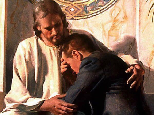 Cristo y un hombre arrepentido de sus pecados