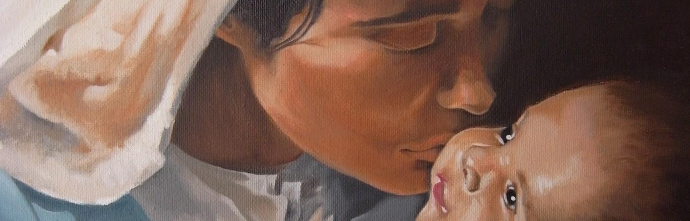 La Virgen María besando a Nuestro Señor Jesucristo
